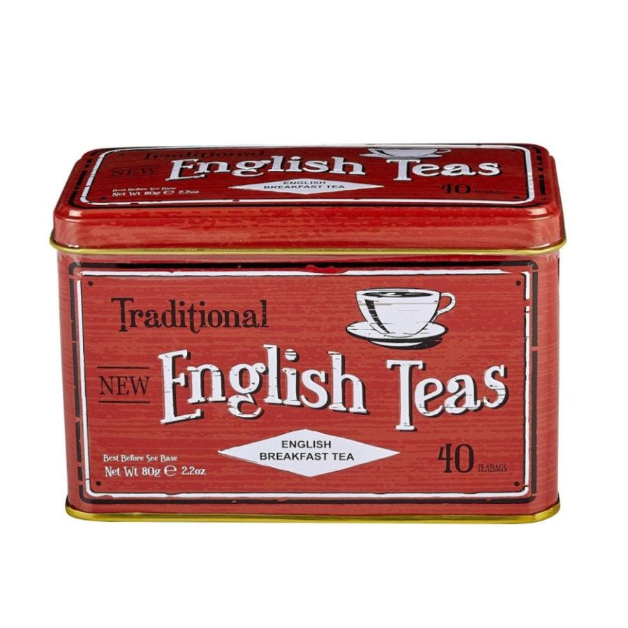 Vintage Red Tea Tin with 40 English Breakfast teabags Black Tea New English Teas