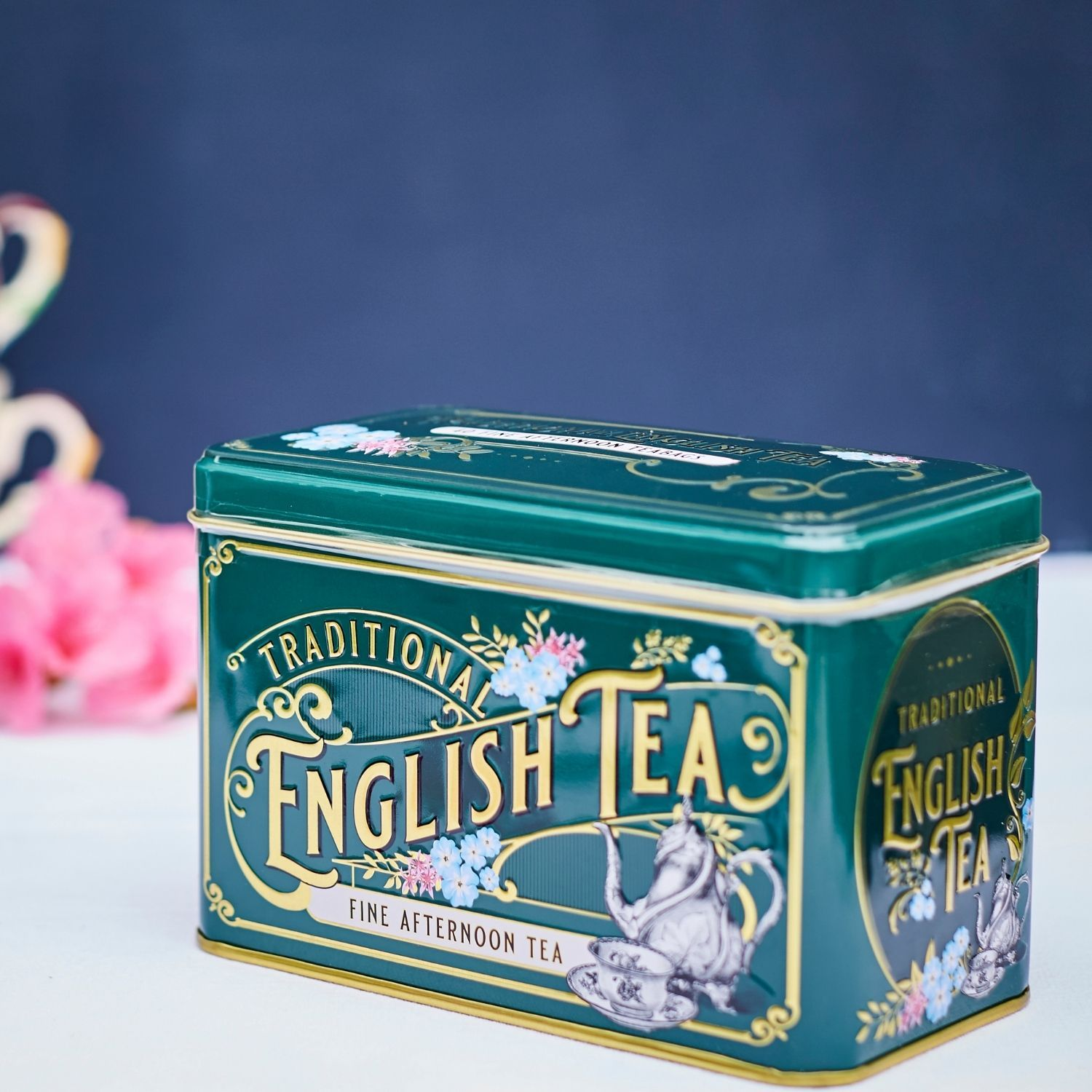 Vintage Victorian Bottle-Green Tea Tin with 40 English Afternoon Teabags Black Tea New English Teas