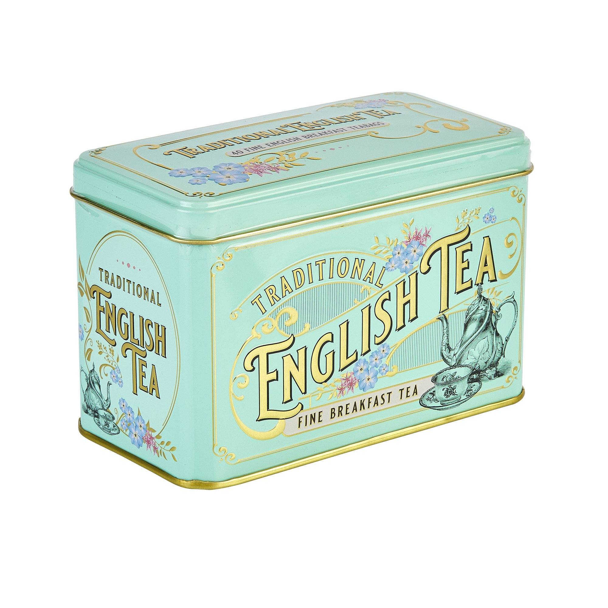 Vintage Victorian Tea Tin with 40 English Breakfast teabags Black Tea New English Teas