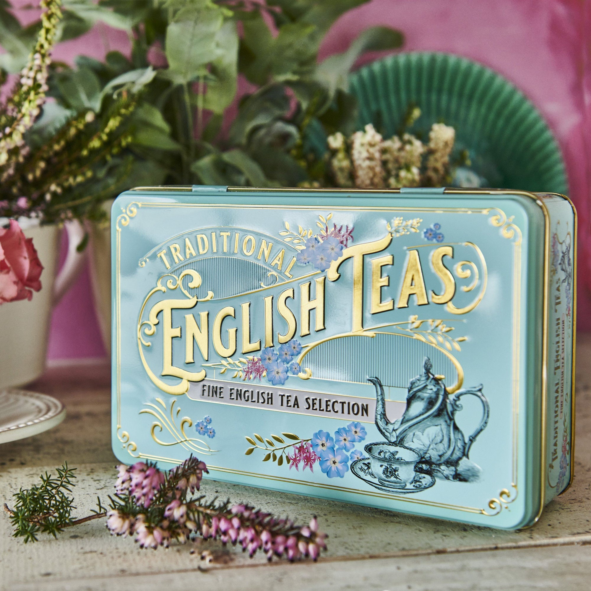 Vintage Victorian Tea Tin with 72 teabag selection Black Tea New English Teas