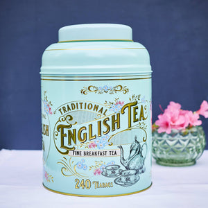 Vintage Victorian Tin with 240 English Breakfast teabags Black Tea New English Teas