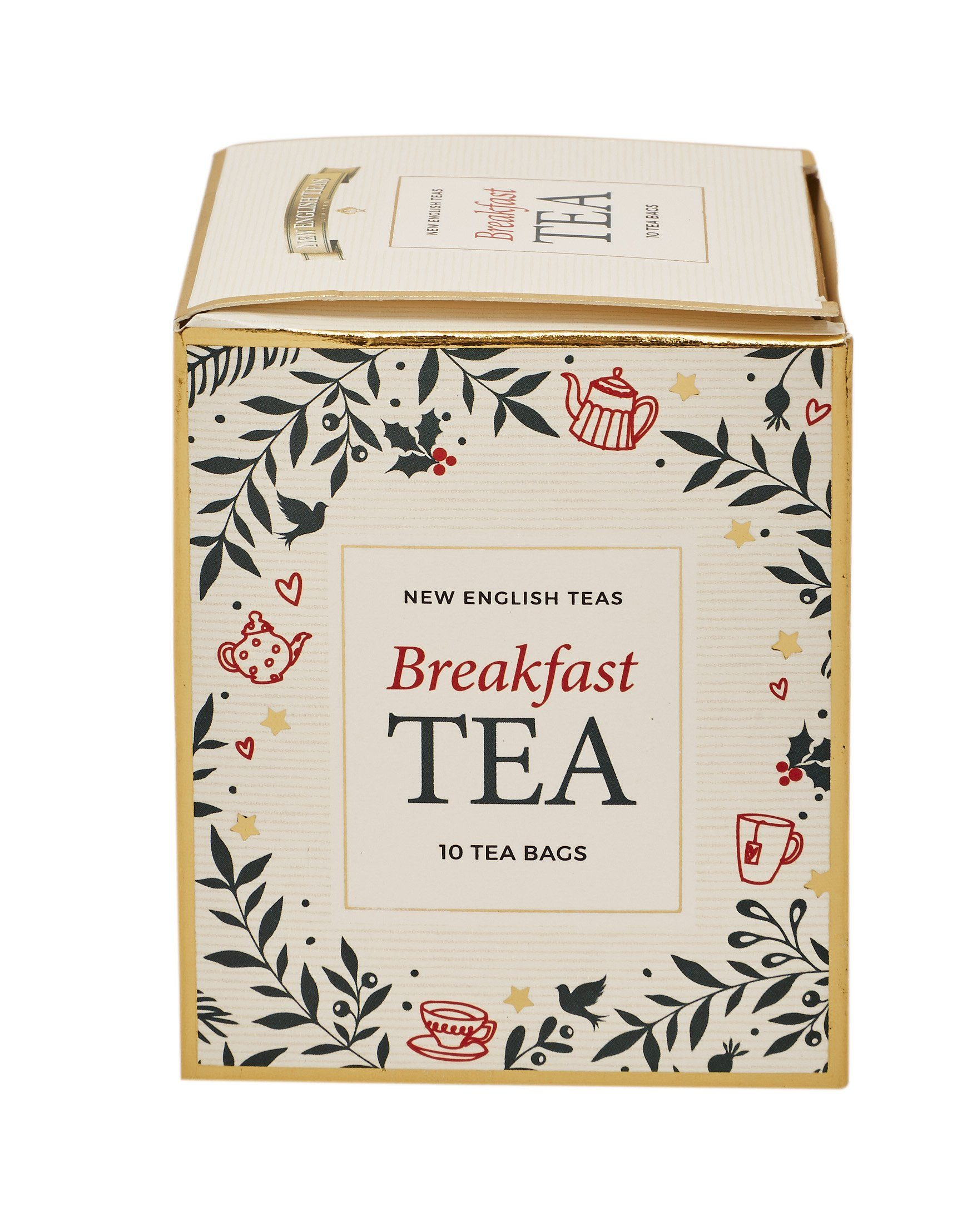 White Christmas Teabag Box with 10 Afternoon Tea Teabags Black Tea New English Teas