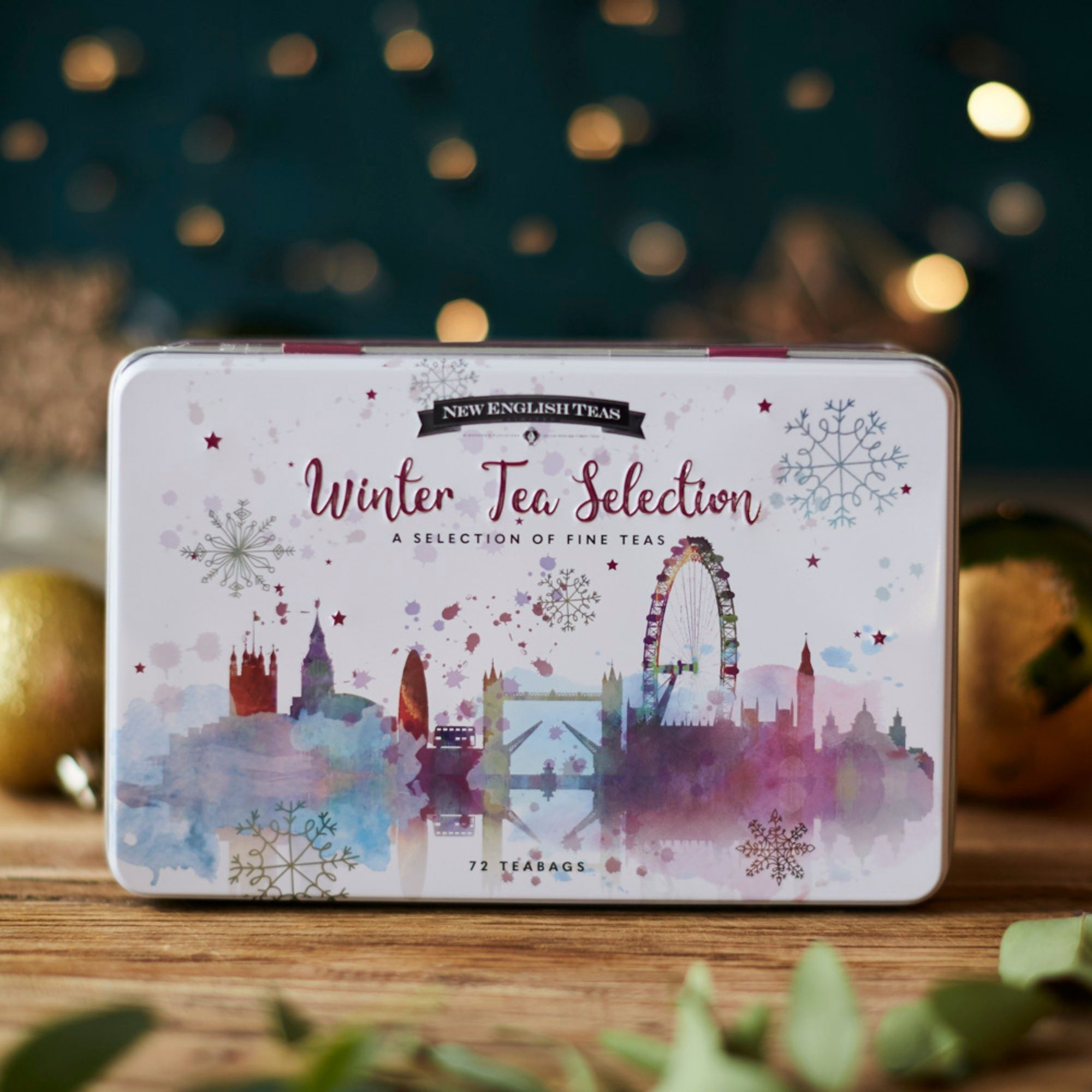 Winter Wonderland Christmas Tea Tin 72 teabag selection Black Tea New English Teas