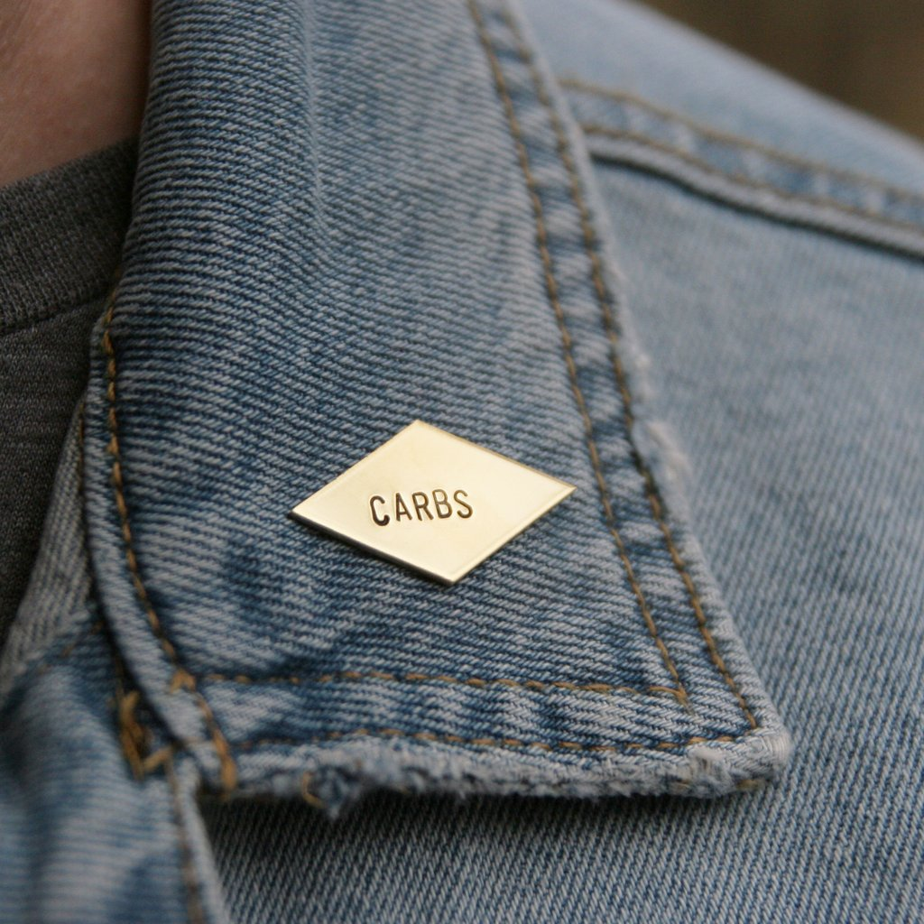 'carbs' stamped brass pin