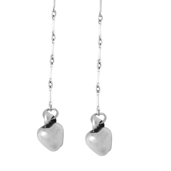 Long Apple Earrings in Sterling Silver