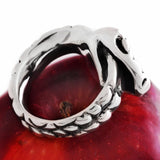 Silver Naga Snake Ring on Apple