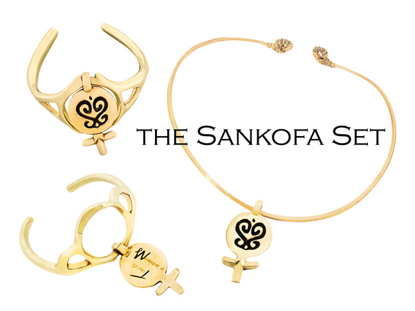 Sankofa Gold Necklace and Bracelet Set