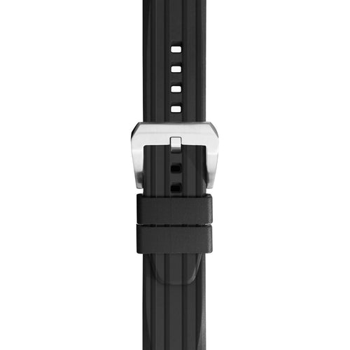 24mm Silicone Rubber Diver Watch Strap in Black with Quick Spring