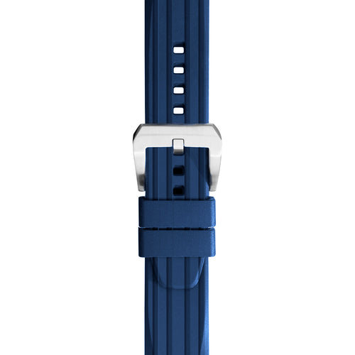 24mm Silicone Rubber Diver Watch Strap in Blue with Quick Spring
