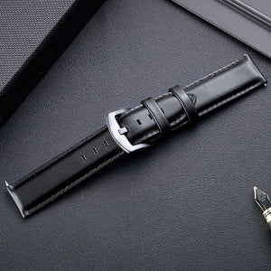 20mm Premium Leather Watch Strap in Black with Quick Spring