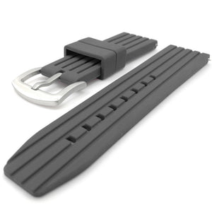 22mm Silicone Rubber Diver Watch Strap in Grey with Quick Spring