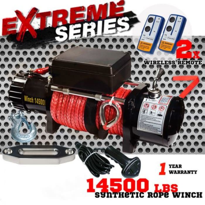 14,500-Lb Electric Winch with 26M Synthetic Rope & 12V Wireless Remote - Wa 4x4 Camping And Accessories
