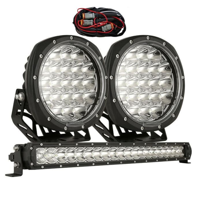 7 LED Driving Light Set + 22 LED Light Bar Combo - Black
