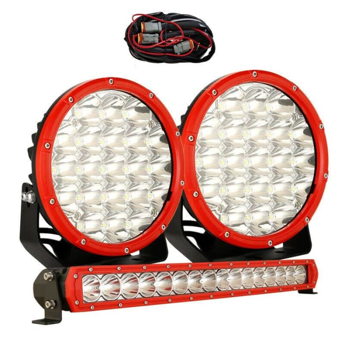 7 LED Driving Light Set + 22 LED Light Bar Combo - Red Face
