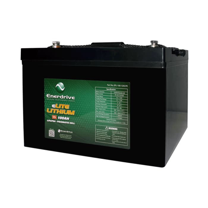 Enerdrive 12v 100Ah eLITE Lithium Battery LiFePO4 Prismatic