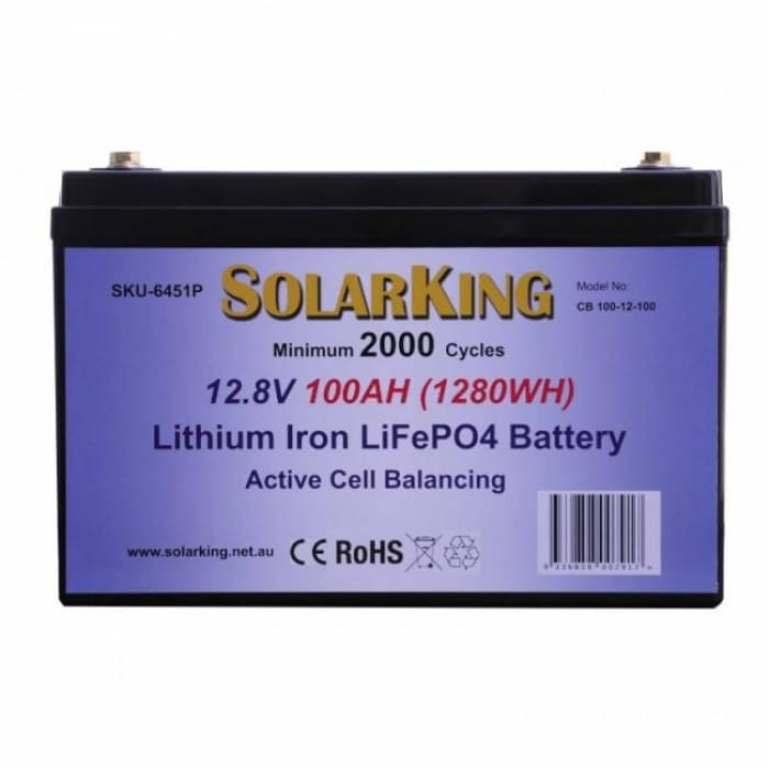 Solarking 100Ah 12V Lithium Battery LiFePo4 100A BMS Prismatic Cell Active Balancing - Wa 4x4 Camping And Accessories