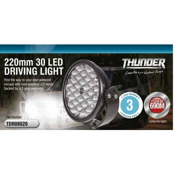 THUNDER LED DRIVING LIGHT ROUND 220MM - Wa 4x4 Camping And Accessories