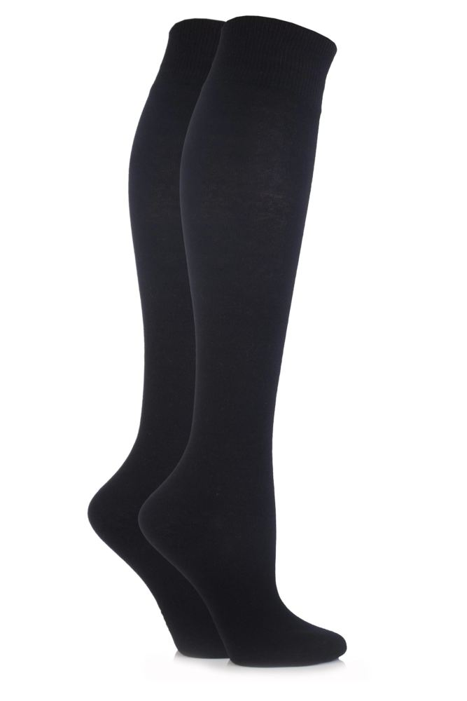 Elle-Ladies 76% Cotton Knee High Socks-2 Pair Pack