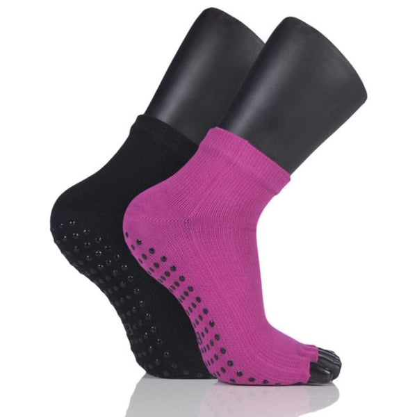 Elle-Ladies Open Toe Yoga Socks-2 Pair Pack