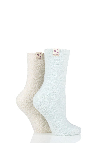 Elle-Two Tone Cosy Bed Socks-2 Pair Pack