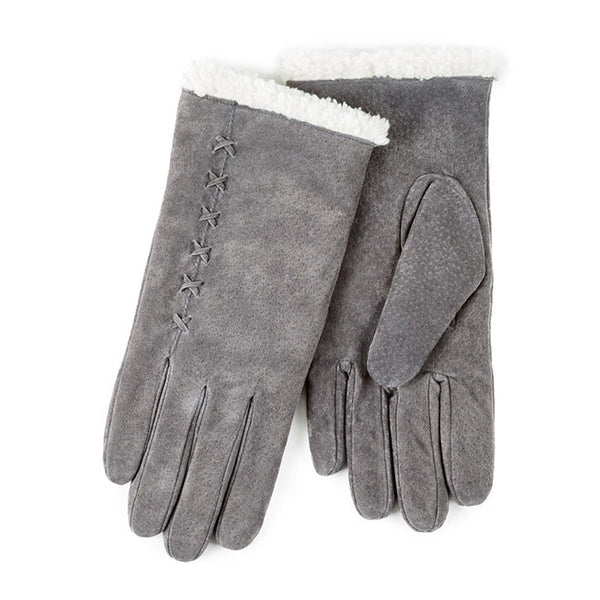 Totes Isotoner-Ladies Suede Gloves-Sherpa Cuff-69169