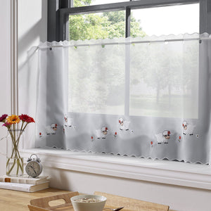 "Voile Cafe Net Curtain-Baa Baa Sheep Design-18"" and 24"" Drops"