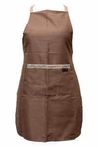 Aprons-Bib Front-Tie Waist-Front Pocket-Brown