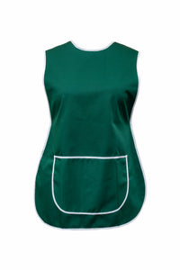 Tabbard-Button Side-Over the Head-Plain-Large Front Pocket-Dark Green