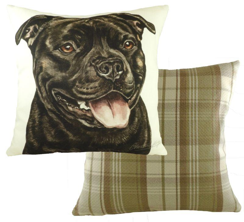 Black Staffordshire Bull Terrier-Cushion Cover-43 x 43cm