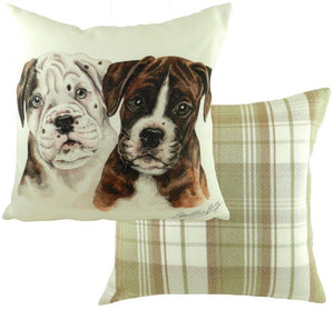 Boxer Puppies-Cushion Cover-43 x 43cm