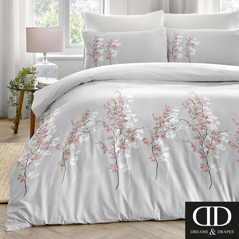 Dreams and Drapes-Oriental Flower-Duvet Cover in Pink