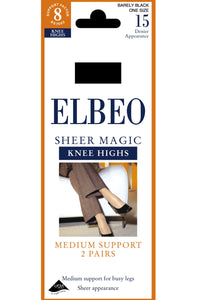 Elbeo-Ladies Medium Support Knee Highs-2 Pair Pack-Sheer Magic