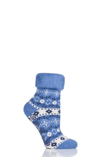 Elle-Patterned Brushed Inside Slipper Socks-1 Pair Pack