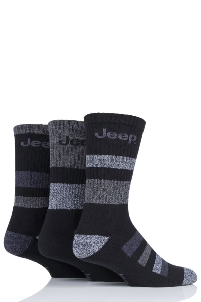 Jeep-Mens Cotton Rich Stripe Sock-3 Pair Pack
