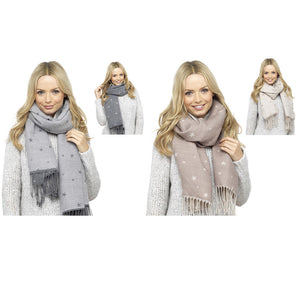Ladies-Reversible Blanket Style Star Scarf
