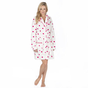 Ladies Dressing Gown-Robe-Pink Spot-Fleece