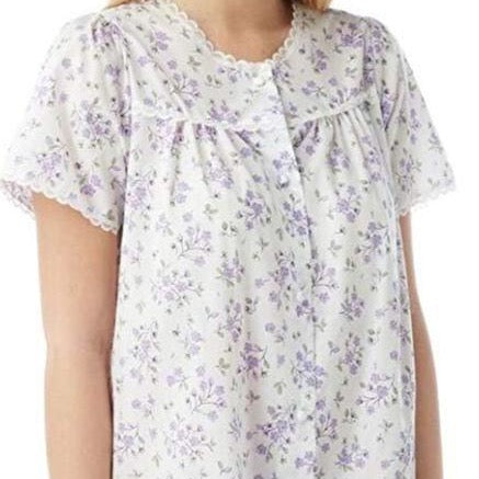 Ladies Short Sleeve-Button Through Nightdress-MN12