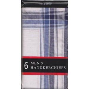 Mens 100% Cotton Hankies-6 Pack