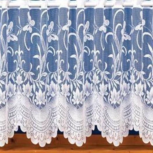 Butterfly Design-Cafe Net Curtain-18″, 24″ Drops-White Nets
