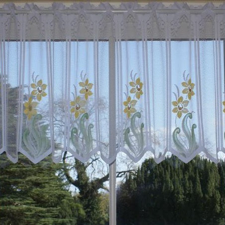 Daffodils Design-Cafe Net Curtain-12″, 18″, 24″ Drops