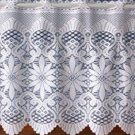 Cafe Net Curtain-Heavy Lace Design-18″ or 24″ Drops-Olivia 3742
