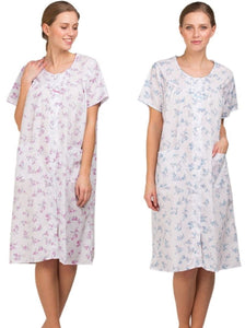 Ladies Polycotton Button Through Nightdress-Lady Olga 1084-Short-Sleeve