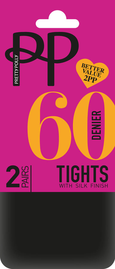 Pretty Polly-60 Denier Opaque Tights-2 Pair Pack
