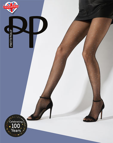 Pretty Polly-Sparkly Silver Pinspot Tights