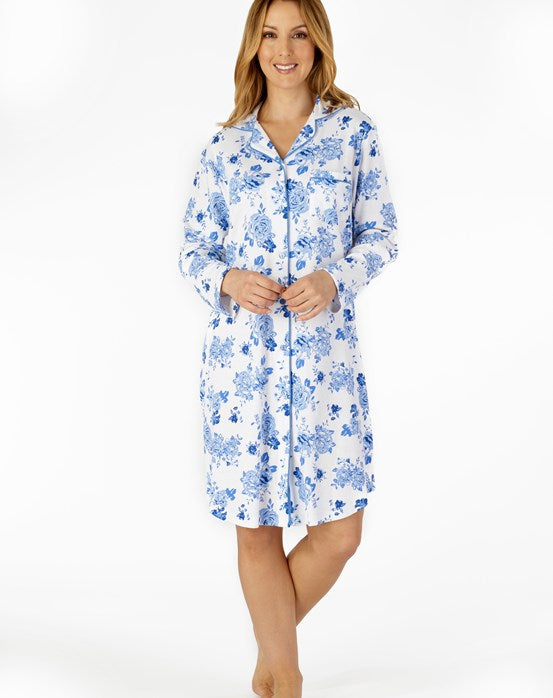 "Slenderella-Ladies Button Through Nightshirt-100% Cotton-38"" Length-NS4202"