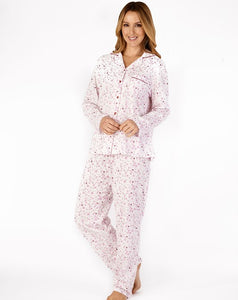 Slenderella-Ladies 100% Cotton Jersey-Tailored Pyjamas-PJ4103