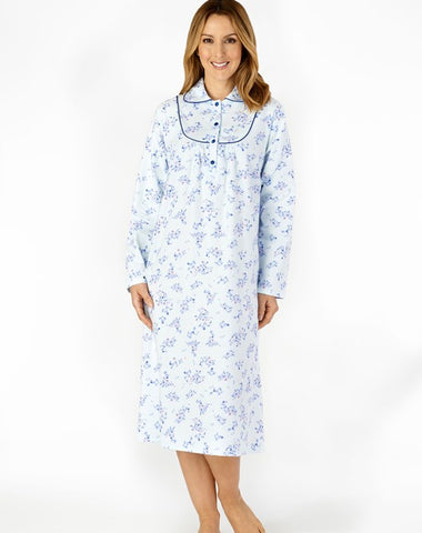"Slenderella-Ladies 100% Brushed Cotton Nightdress-45"" Length-Long Sleeve-ND4211"