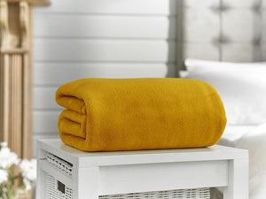 Snuggle Touch-Microfibre Throw-Mustard