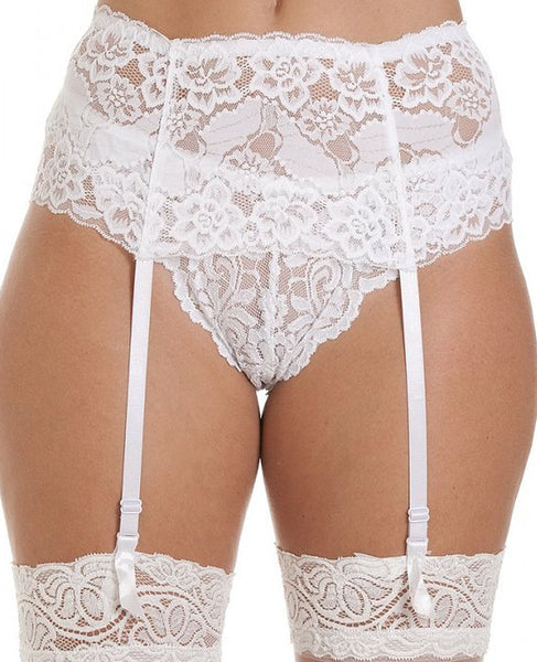 Suspender Belt-Wide Embroidered-Deep Lace-Black, Red or White