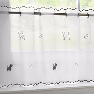 "Voile Cafe Net Curtain-Dogs Design-18"" and 24"" Drops"